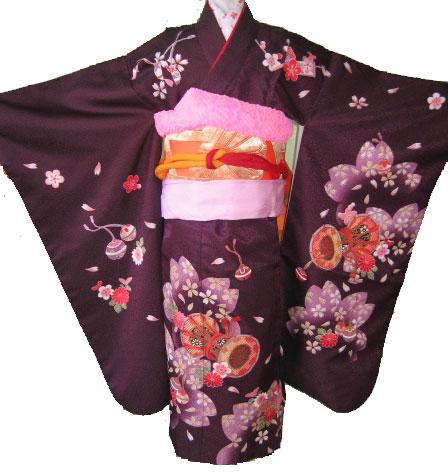 紫桜鼓+橙亀甲帯7才女児晴れ着貸衣装