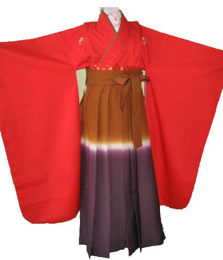 赤花紋+紫茶ぽかし袴7才女の子晴れ着レンタル
