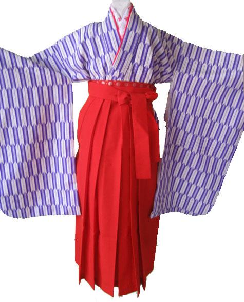9.7才女児紫矢絣+朱袴;