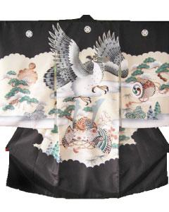 男児宮参り初着貸衣装-黒鷹兜